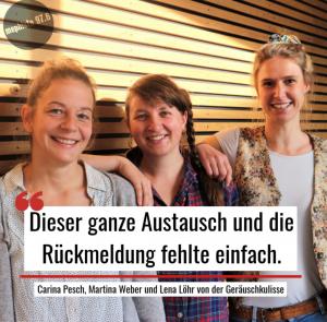 Kuratorinnen der Geräuschkulisse bei mephisto 97.6: Carina Pesch, Lena Löhr, Martina Weber