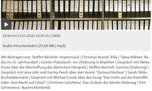Screenshot: Geräuschkulisse bei SWR2 Mehrspur. Radio Reflektiert